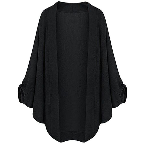 Womens Plain Plus Size Batwing Sleeve Cardigan Black ($18) ❤ liked on Polyvore featuring tops, cardigans, black, women's plus size tops, plus size tops, batwing sleeve cardigan, cardigan top and bat sleeve tops