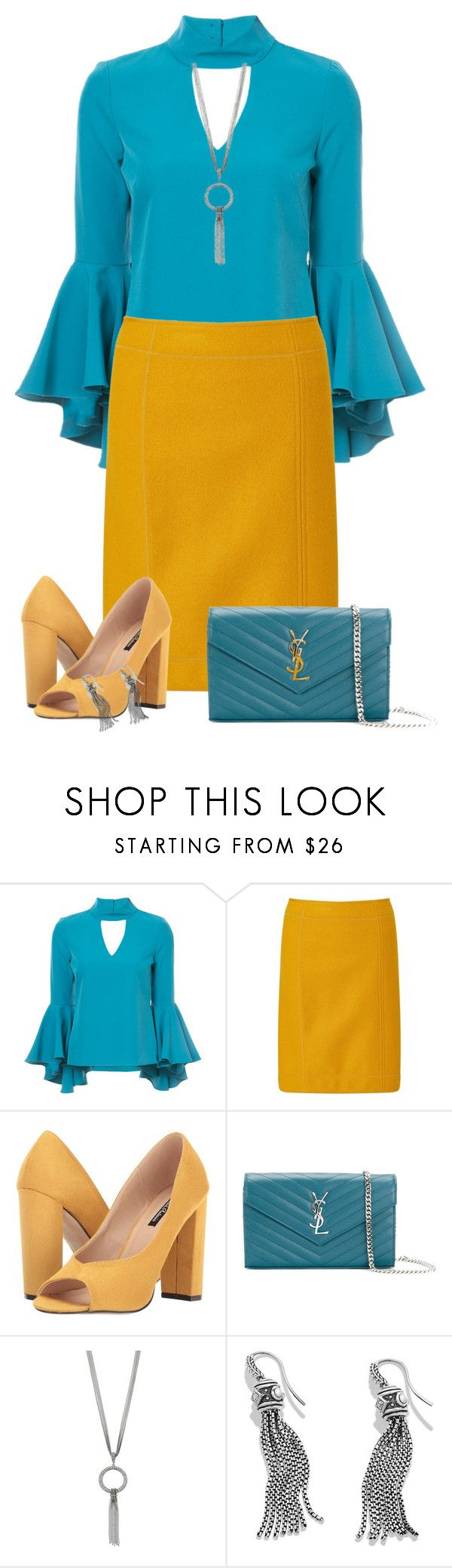 """""""Mustard and Teal"""" by asigworth ❤ liked on Polyvore featuring Milly, MARC CAIN, Michael Antonio, Yves Saint Laurent and David Yurman"""