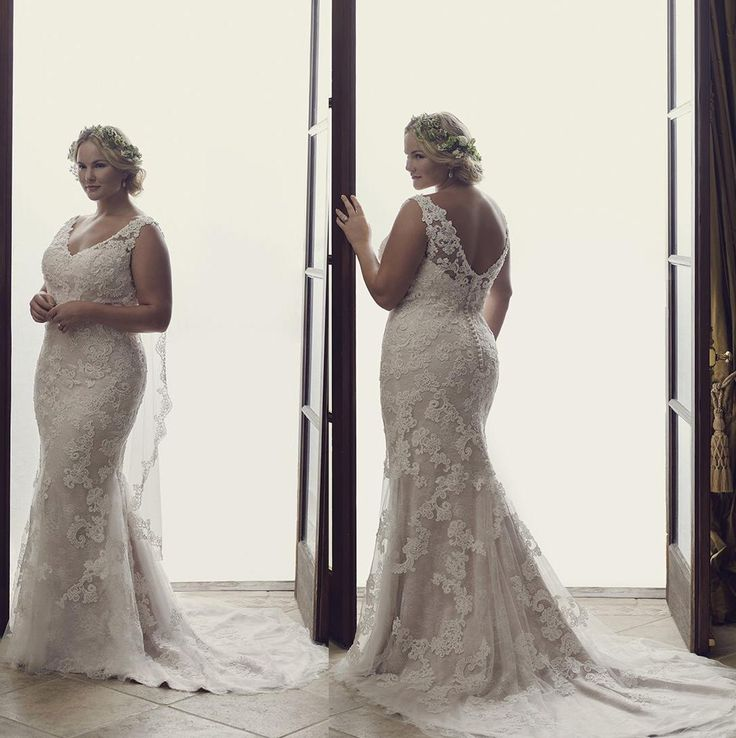 2016 Plus Size Wedding Dresses Vintage Mermaid V Neck Backless Wedding Gowns Lace Beaded Appliques Bridal Gowns Beautiful Gowns Big Wedding Dresses From Gonewithwind, $150.76| Dhgate.Com