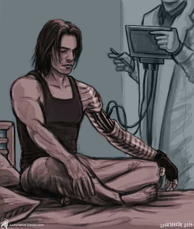 The Winter Soldier | He's so calm, almost asleep. I guess getting his arm worked on doesn't hurt like getting his brain worked on. Makes me sad, though ... Bucky, you could take that guy easy! RUN FOR IT!