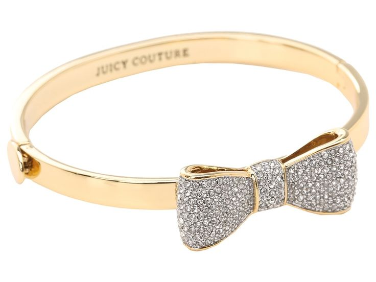 { Juicy Couture Pave Bow Hinge Bangle Bracelet }