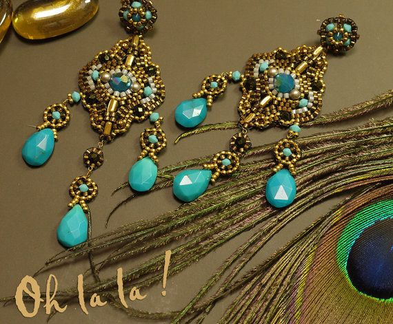 Turquoise Swarovski and Gold Fill Statement by OhlalaJewelry
