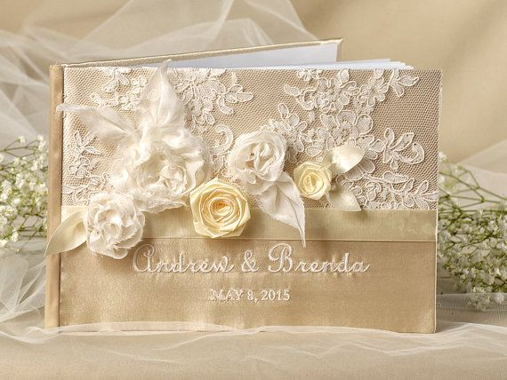 Lace Vintage Champagne  Guestbook Custom Colors  by DecorisWedding, $55.00