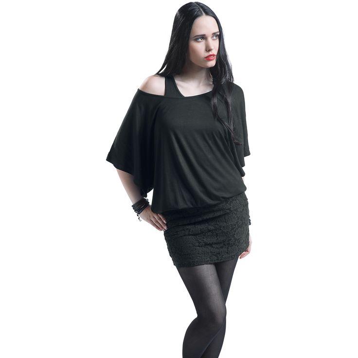"""#Abito """"Bat Double Layer Dress"""" della collezione Black Premium by EMP nero con maglia superiore con maniche a pipistrello e top sottostante e gonna in pizzo 100% poliestere. lu.: 63 cm circa."""