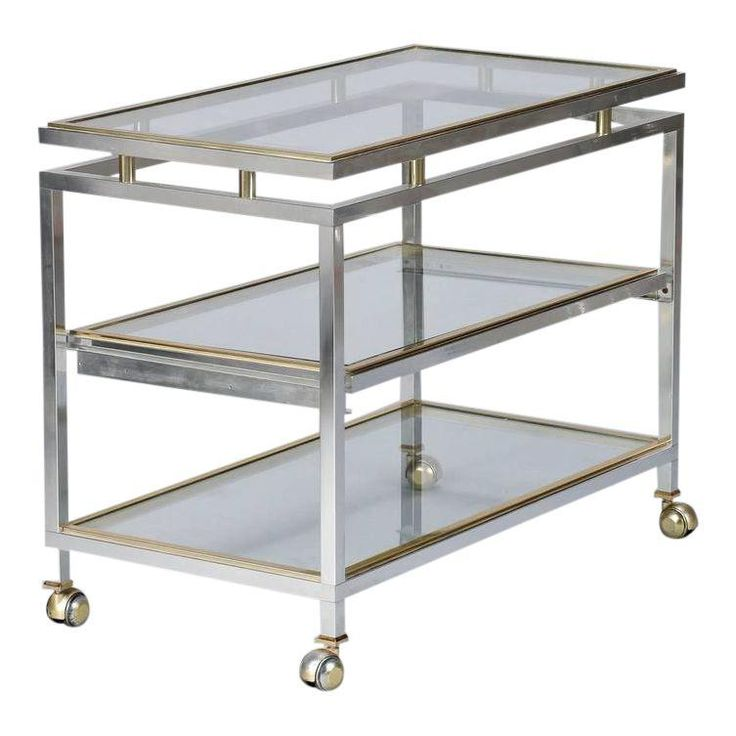 Mid Century Chrome Brass and Glass Serving Trolley in Style of Maison Jansen - Image 1 of 8