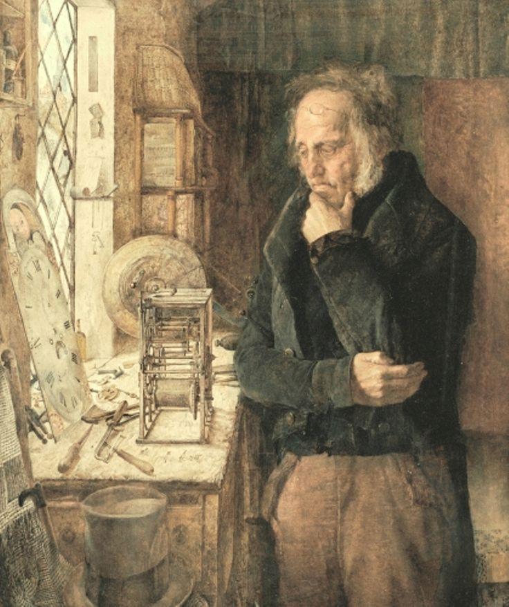"""James Campbell (uno de los prerrafaelitas del grupo de Liverpool) - """"Our village clockmaker solving a problem"""" - 1859"""
