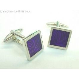 Purple Enamel Square Cufflinks - High quality square rhodium plated cufflinks with a unique purple enameled design. Looks good with a white shirt.