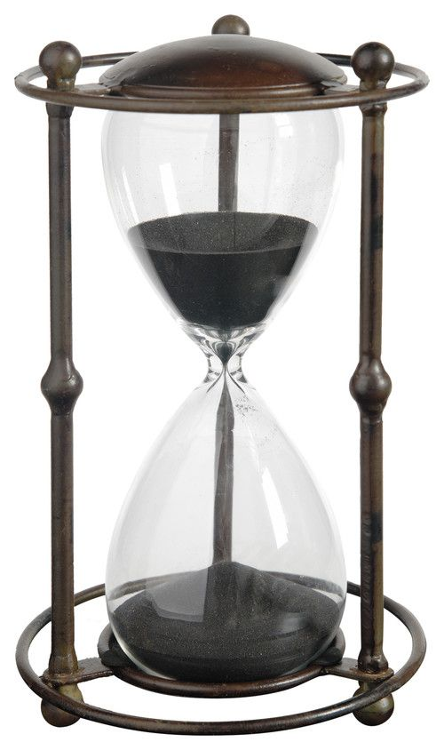 Standing 1-Hour Hourglass Sand Timer, Black