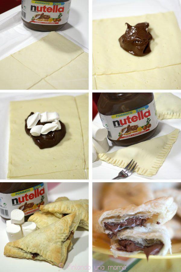 empanadillas-hojaldre-nutella-nubes_PintandoUnaMama Ingredientes: Masa de hojaldre refrigerada (de venta en cualquier supermercado). Un bote de Nutella. Una bolsa de Marshmallows (o en su defecto nubes, pero la combinación queda algo mejor con Marshmallows).