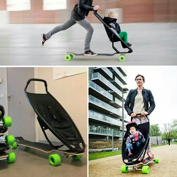Skateboard baby stroller with handles and brakes for steering and safety