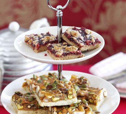 Raspberry Linzer slice | BBC Good Foodこれをチェリーで。