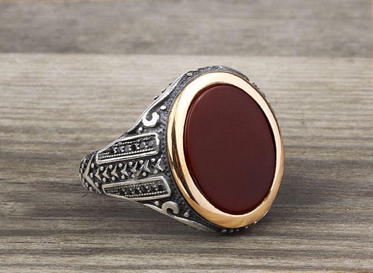 925 K Sterling Silver Man Ring  Brown Agate Gemstone 11,75 US Size B14-63614 #istanbuljewelry #Statement
