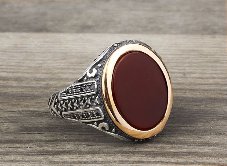 925 K Sterling Silver Man Ring  Brown Agate Gemstone 11,75 US Size B14-63614 #istanbuljewelry #Statement