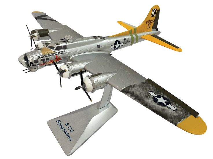 Air Force 1 Models 1:72 Boeing B-17 Diecast Model Airplane AF1-0110 This Boeing B-17 G `Miss Lace` (USAAF 447 BG 1944) Diecast Model Airplane has working control surfaces, gun turret, propellers and also comes with a display stand. It is made by Air Force 1 Models and is 1:72 scale (approx. 45cm / 17.7in wingspan).    #AirForce1Models #ModelAircraft #Boeing #MiniModelAircraft