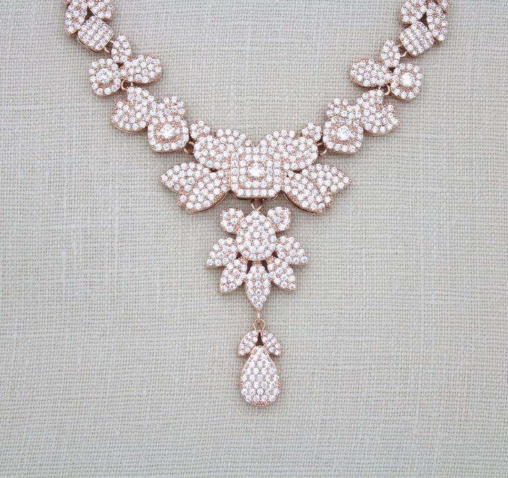 Rose gold Statement necklace, Rose Gold Bridal necklace, Wedding jewelry, Swarovski necklace, Crystal necklace, Pave cz necklace, Vintage by treasures570 on Etsy https://www.etsy.com/listing/257700709/rose-gold-statement-necklace-rose-gold