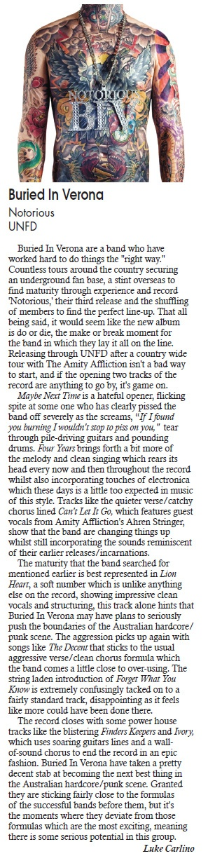 Buried In Verona NOTORIOUS review from Adelaide's DB Magazine