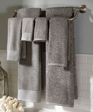 Another great find on #zulily! Platinum Boho Jacquard & Solid Egyptian Cotton Towel Set #zulilyfinds