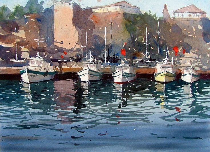 Watercolor of Antalya harbour in Turkey