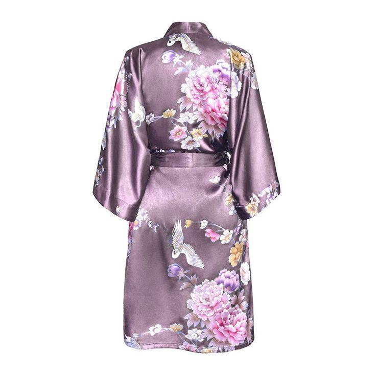 Chrysanthemum and Crane Kimono Robe (mauve)