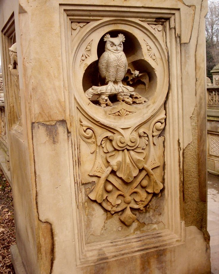 Carved Owl Mausoleum- what a way to spend eternity!