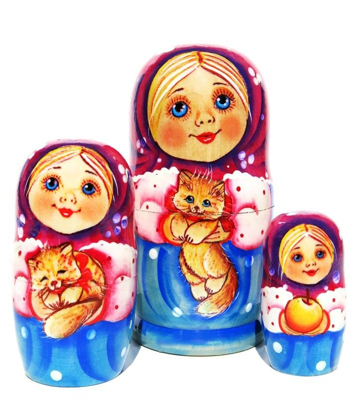 Cute portraits of a little girl with her pet kitten are hand painted on a set of 3 Russian matryoshka nesting dolls. Limited stock. Low price. Buy now.