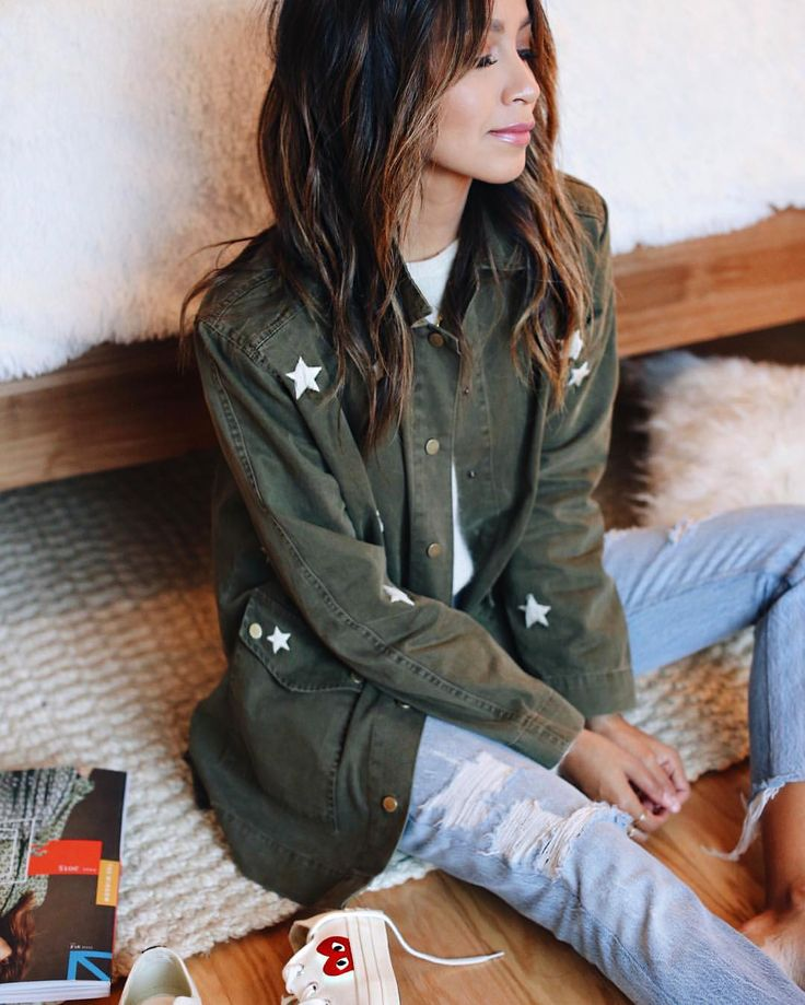 """JULIE SARIÑANA on Instagram: """"⭐️⭐️; Obsessed with our new star embroidered Bailey jacket!@shop_sincerelyjules shopsincerelyjules.com"""""""
