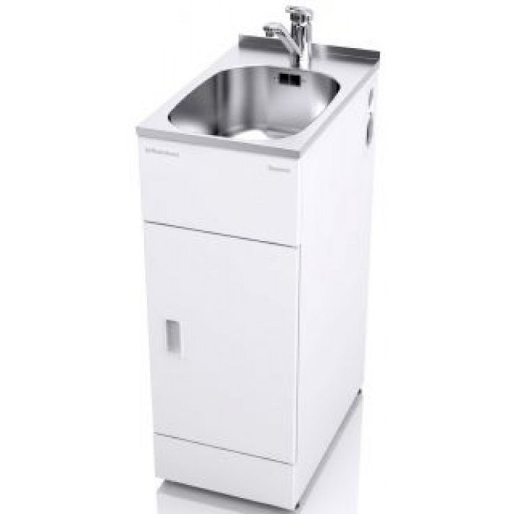 The STSLIMTAP is designed for laundries with limited space, comes complete with side apertures that fit the washing machine water inlet hoses and the waste hoses.  It has a super compact tub and full width left or right handed reversable door, cupboard storage and a single-handed mixer tap.  Freestanding Single-handed Mixer Tap Plug for Bowl 24L Seamless stainless steel bowl with overflow outlet Adjustable rubber feet