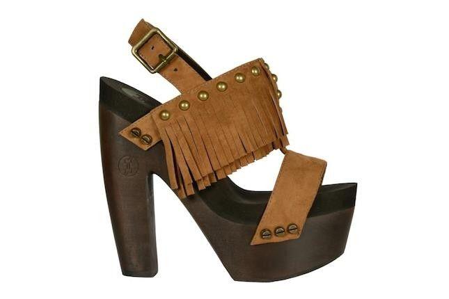 Zoccolo in legno scuro Flogg Rachel con frange e cinturino