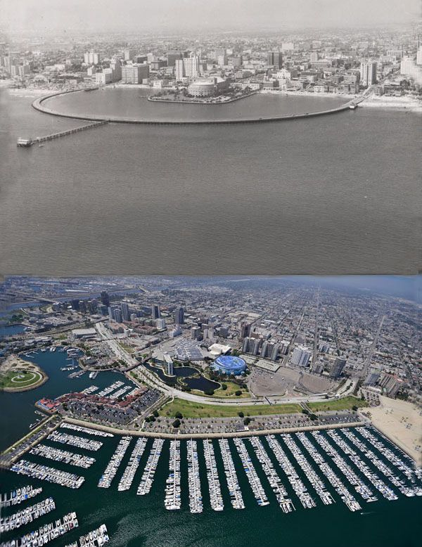 20 Skylines Of The World: Then Vs Now: Long Beach California, USA. 1953 vs 2009