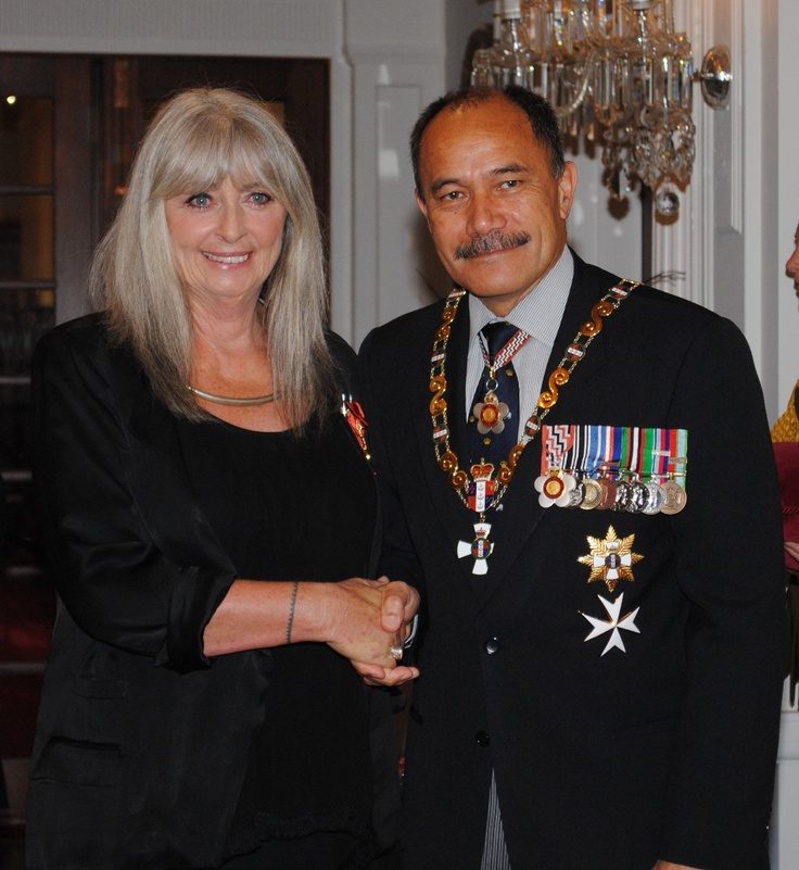 Dame Suzie Moncrieff, WOW Founder proudly receiving her official New Zealand Order of Merit for her contribution to the arts. She was made a Dame Companion of the Order in 2012. Pictured here with Lt Gen Rt Hon Sir Jerry Mateparae. Governor General