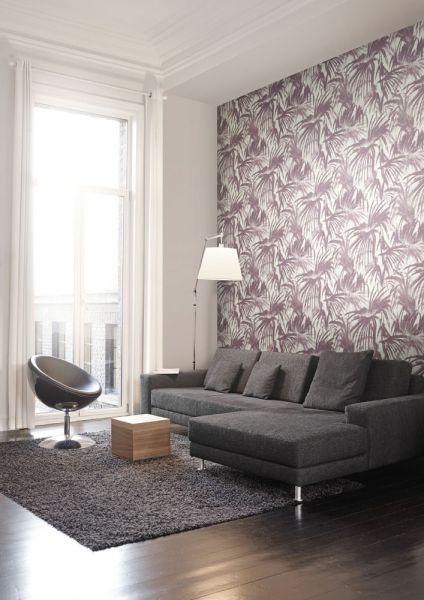 Inspirerande vardagsrum med tapet från kollektionen Livium LIV604. Klicka för att se fler tapeter för ditt hem!