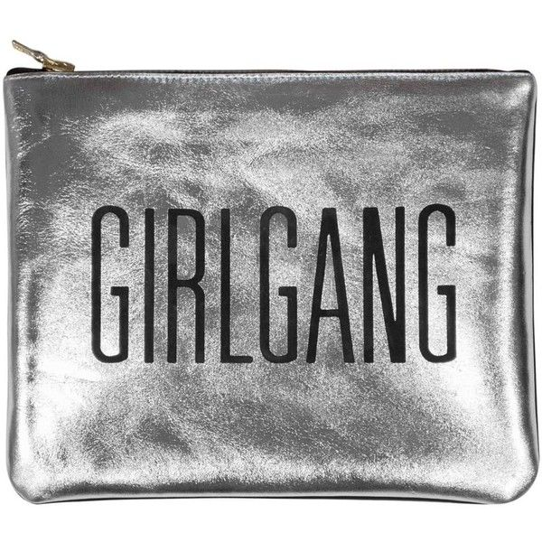 Sarah Baily - Mini Clutch Girlgang Silver found on Polyvore featuring bags, handbags, clutches, silver handbags, silver clutches, party handbags, mini purses and hand bags