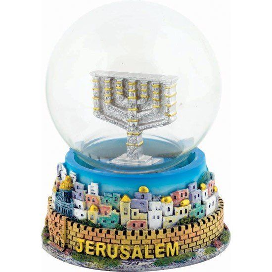 Colored Snow Ball featuring a colorful Jerusalem Old City base and a silver and gold Menorah inside a ball of glittering snow - And yes it really does snow in Jerusalem sometimes! Size: 3.5 inches / 9 cm high approx. Shipped direct from the Holy Land.