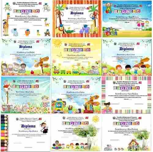 100 Plantillas Para Diplomas Infantiles Y Preescolares - Bs. 150 ...