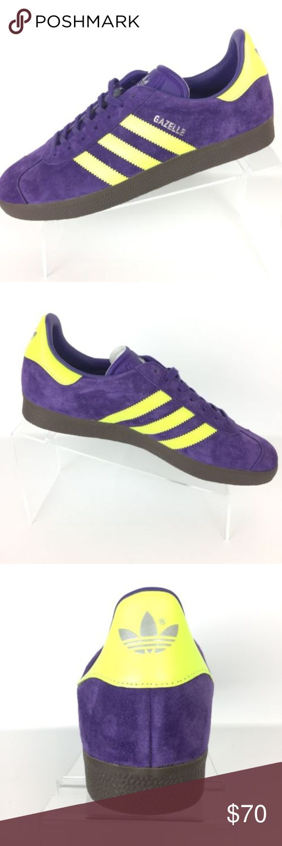 Adidas Originals Gazelle Shoes Adidas Originals Gazelle Shoes Men's Size: 9.5 Purple with Neon Yellow accents Brand new without box. s3 adidas Shoes Sneakers