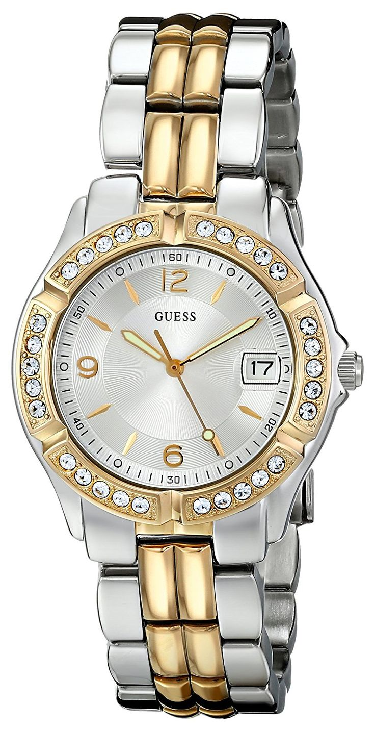 GUESS Women's U0026L1 Dazzling Sporty Silver and Gold-Tone Mid-Size Watch >>> Details can be found by clicking on the image.