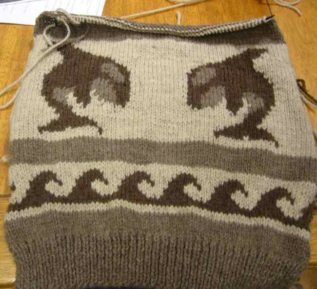 Cowichan sweater pattern: orca