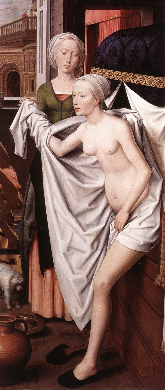 Hans Memling. Bathsheba  1485  Oil on wood, 191 x 84 cm  Staatsgalerie, Stuttgart