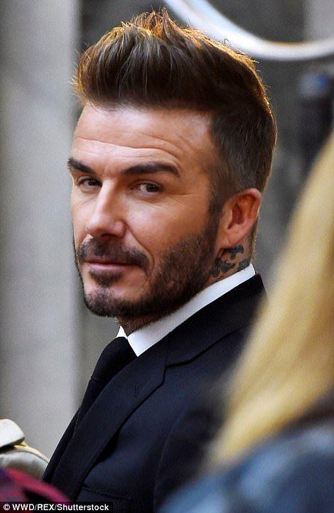 Smoldering: David worked his trademark coif into a sleek quiff #Men'shaircuts