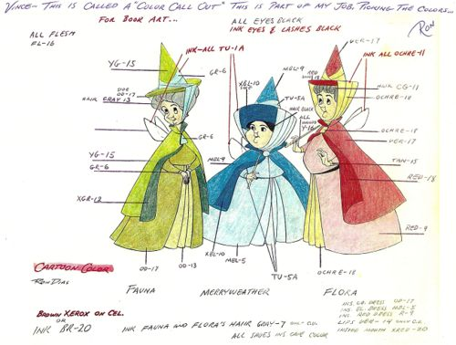 Flora, Fauna, and Merryweather colour keys for Sleeping Beauty (1959)...But seriously guys, why DID you leave her alone after 16 years. Come on now!
