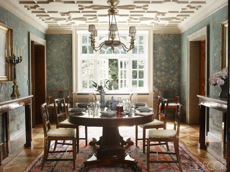 Best Chinoiserie Dining Images On Pinterest Chinoiserie - Dining room decorating ideas wallpaper