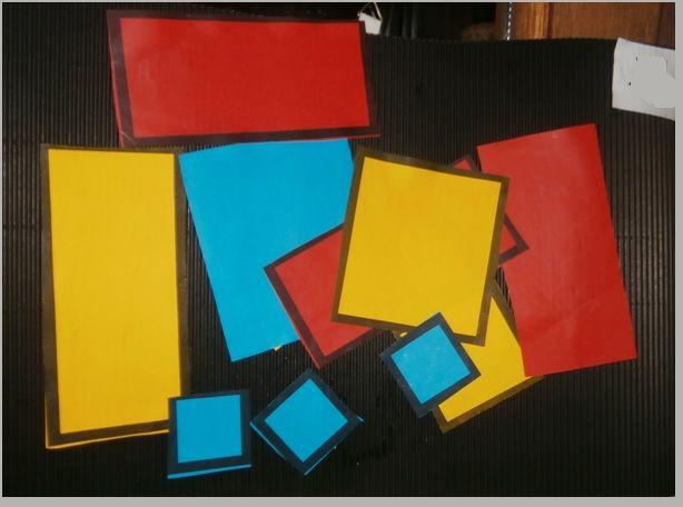 Vrij plak werkje  in thema Mondriaan voor  peuters