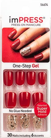 imPRESS Press-on Manicure Red Gel Glitter Accent Nails - Tweetheart