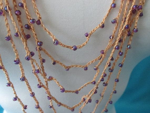 BEADED CROCHET NECKLACE  Rosaline Purple Beads by QuackyQuilts