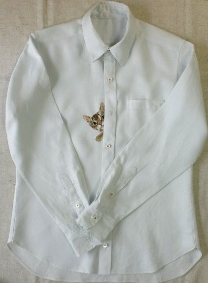 Hand-embroidered Linen Cat Shirt in Light Blue | Hiroko Kubota | www.etsy.com