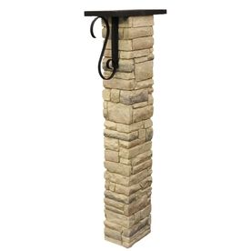 Eye Level Beige Stacked Stone Mailbox Post