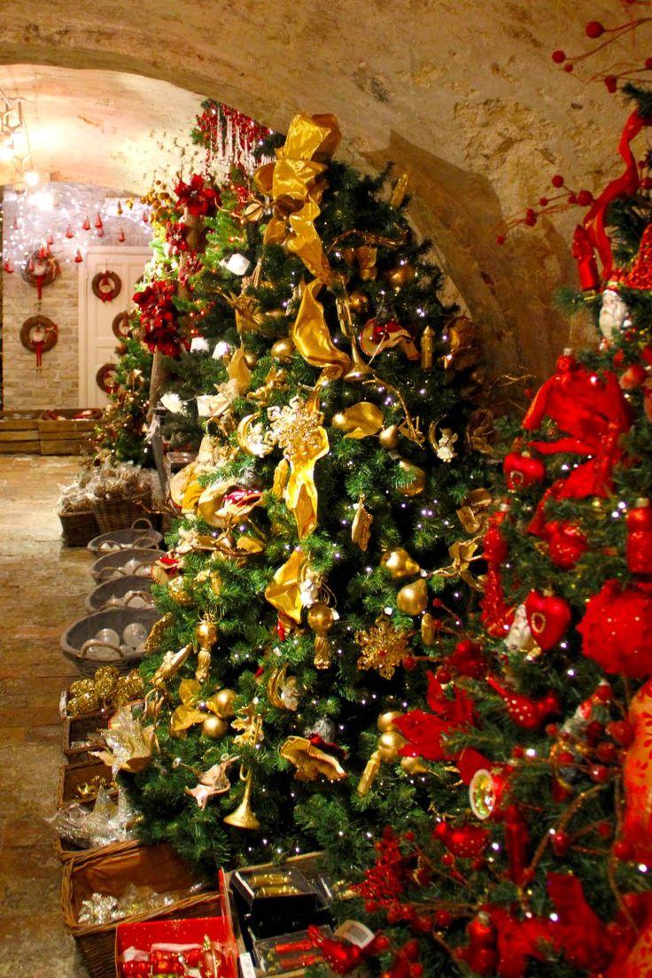 Inside the beautiful Christmas shop, De Witte Pelikaan (Vlamingstraat 23) in Bruges, Belgium.