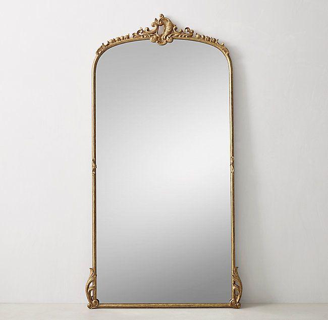 Antiqued Carved Wood Leaner Mirror Gilt Home Decor