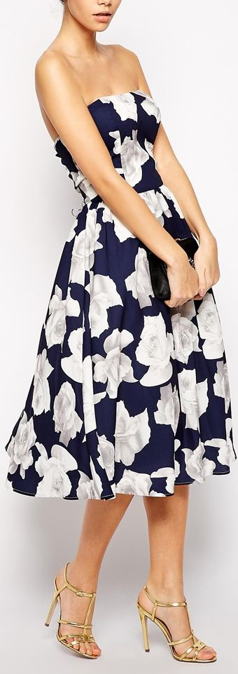 Not a huge fan of strapless but love everything else. bandeau floral midi dress