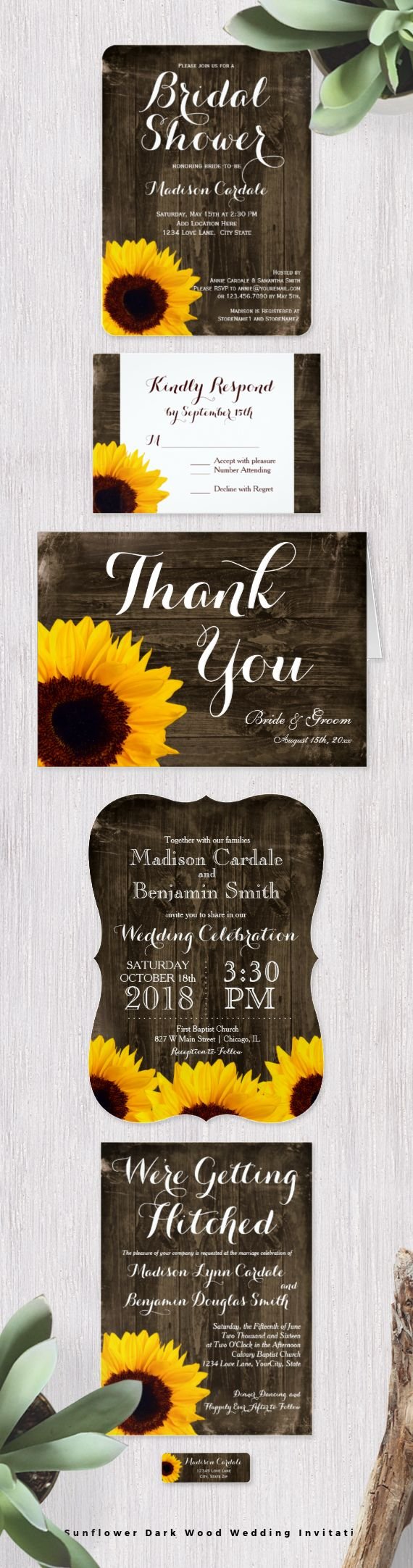 Rustic Country Sunflower on Dark Wood Wedding